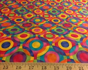 "Cotton 100 %  ENER-GEO Circle Brights Challis & Roos Premium Quilt Prints Fat Quarter 19""X22"""