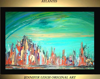 Original Large Abstract Painting Modern Acrylic Painting Oil Painting Canvas Art Green Rust Blue ATLANTIS 36x24 Textured Wall Art  J.LEIGH