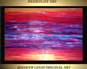 Original Large Abstract Painting Modern Acrylic Painting Oil Painting Canvas Art Red Gold Purple Sunset 36x24 Textured Wall Art  J.LEIGH