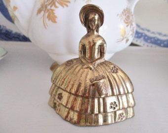Vintage brass lady dinner bell, Made in England brass, tea bell, southern belle tea bell, English Garden Tea Shop,  excellent condition