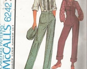 Vtg Pattern McCalls #6242 Misses Overalls Pants Top Size 16 Uncut