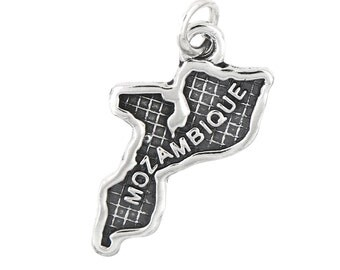 Sterling Silver Map of Mozambique Travel Charm