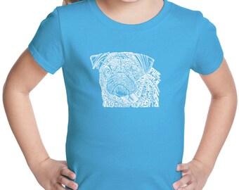 Girl's T-shirt - Pug Face Created using the word Pug