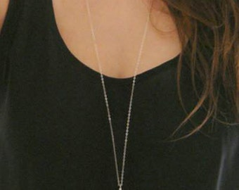 Silver Plated Metal Chain Simple Bar and Loop Ring Long Necklace