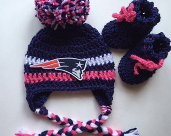 Girls New England patriots hat with ear flaps and booties