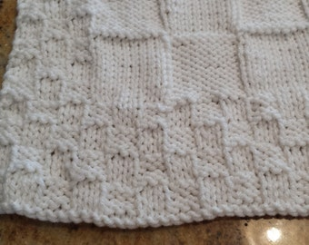 Knitted White Baby Afghan