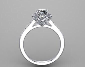 hand made forever brilliant Moissanite diamonds engagement ring, custom 14kt white gold anniversary ring, style 32WDM