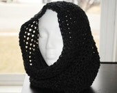 charcoal crochet infinity hooded cowl