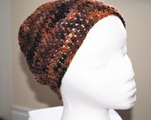 "falkland wool crochet  beanie/hat in ""nectarine"" colorway"