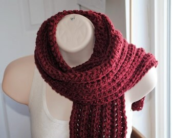 "superwash wool in heather maple leaf red crochet open end scarf 72"" long"