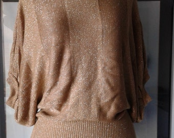 80s  Party gold top,  short sleeve  sweater, gold metallic top,