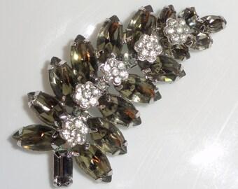 Smoky Marquis Navette Flower Floral Clusters Layered Rhinestone Vintage Brooch