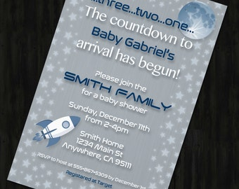 Space Themed Shower Invite