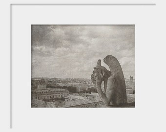 Notre Dame Gargoyle Photograph | Paris Wall Art | Photography | Vintage Texture Soft | Love | Wanderlust | Travel Black and White