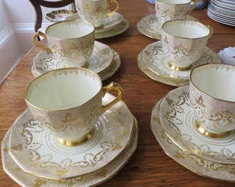 Tuscan vintage china tea cup trio.