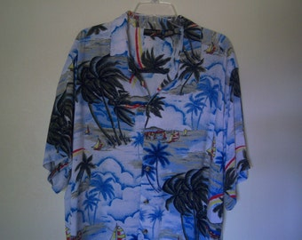 "Vintage Men's Hawaiian Shirt, ""Thums-Up For Him"", Short Sleeve Casual Wear, Beach Party, Size XL, 80's/90's"