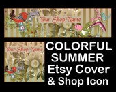 COLORFUL SUMMER BIRDS Etsy Large Cover Banner Set 1200X300/Premade Etsy Banner/Spring Etsy Banner, Etsy Banner, Colorful Etsy