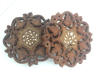 Vintage Carved TWO Wooden Trivets Plant stand Filagree wood cut Made in India