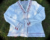 Izzy Roo Winter White Crocheted Cardigan With Rose Red Ribbons And Roses Extra Large