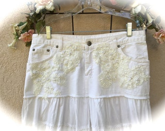 Boho Romantic Rodeo Wedding Skirt Tiered White Denim With Vintage Bridal Lace Appliqué Size 16