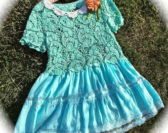 Rustic Seaside Aqua Blue Lace Dress Beach Cover Summer Shore Beauty