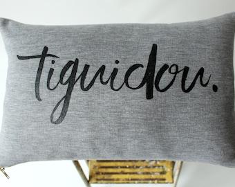 Gray fleece and velvet soft cushion - French tiguidou