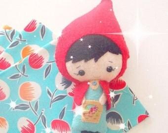 BACK 2 SCHOOL SALE Little Red Riding Hood Doll - Small Felt Doll - Gingermelon Doll