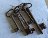 Skeleton Keys Antique French x 5  Large Circa approx 1850 - 1900