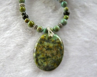 REDUCED!  21 Inch Green Chinese Turquoise and Black Onyx Pendant Necklace with Earrings