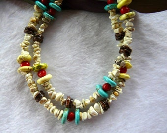 23 Inch Double Strand Southwestern White Turquoise Nuggets with Coral and Turquoise and Earrings
