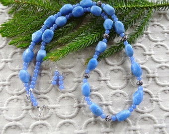 30 Inch Chunky Rustic Cornflower Frosted Blue Chalcedony Necklace with Earrings