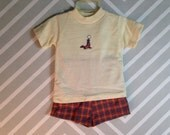 vintage nwot healthtex plaid shorts and shirt set with cute seal applique size 3T