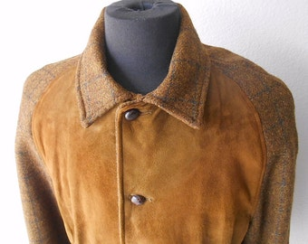 70's Suede and Tweed Jacket McGregor Quilted Lining L Large 44