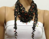 Black Beaded Scarf Necklace with Orange Flowers Printed - Handmade Crocheted Beaded Scarf -  Black scarf bandana