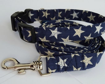 Patriotic dog collar with matching leash - fourth of july, adjustable, navy blue, stars, custom sizes