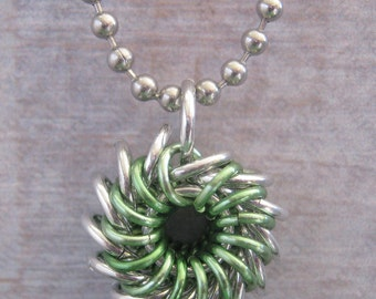 Green Whirlybird Pendant Chainmaille Necklace Aluminum Jewelry