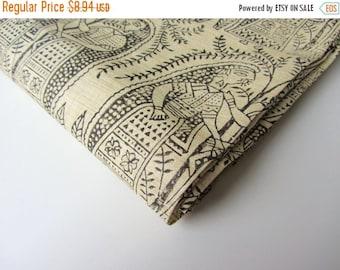 ON SALE Black Rajasthani block printed on beige cotton silk India fabric nr 646 REMNANT