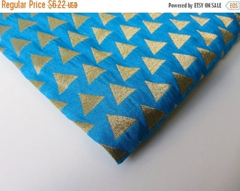 ON SALE Blu gold triangle India silk brocade REMNANT