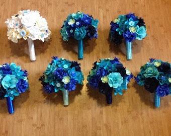 Wedding party set - paper flowers, wedding package, eclectic wedding, bridal bouquet, bridesmaids bouquets, wedding flowers
