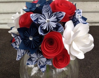 Paper flower bouquet, red white blue, patriotic, anniversary gift, birthday flowers, get well soon