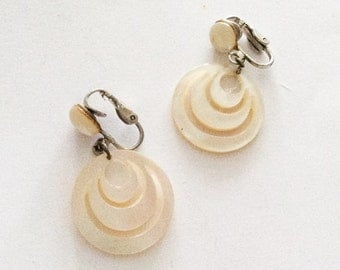 Modernist Earrings, Mother of Pearl, 1960s Vintage Jewelry, SUMMER SALE