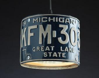 Michigan License Plate Pendant Shade Round - Man Cave - Garage - Repurposed - Upcycle - Automotive Lamp - Transportation Light - Handmade