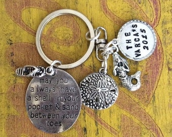 Beach Themed/beach house key chain  Perfect for your summer home/beach house key, wedding favors, gifts, car keys, and more!