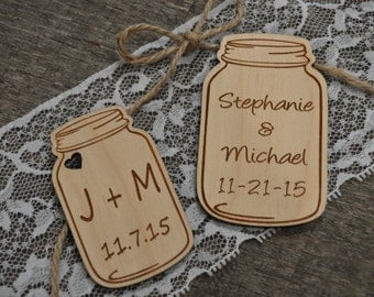 Personalized Mason Jar Wedding Favors, Mason Jar Favors, Mason Jars, Wood Wedding Favors, Rustic Wedding Favors, Mason Jar Favor Tags