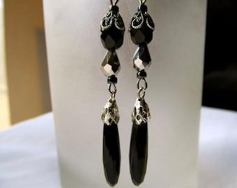 Art Deco Earrings Art Nouveau Earrings Gothic Earrings 1920s Earrings Silver Filigree Earrings Onyx Earrings Jet Black Earrings- Black Ice