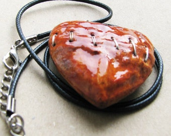 Wood heart mended love broken stitched imperfect necklace big ornament charm pendant A6