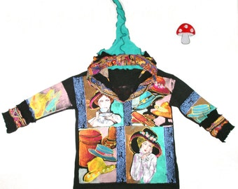 """Elf Hoodie DEPOSIT Special Order """"Fancy Hats"""" Size Extra Large XL Hand Painted Recycled Sweater Art Pullover Jumper Handpainted OOAK"""