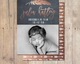 Tribal Feather Rose Gold Birth Announcement Card Custom Photo Card 5x7 Professionally printed cards or Printable