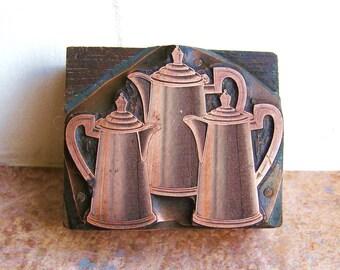 Antique Copper Letterpress Printers Wooden Block of Three Coffee Pots or Teapots c1910
