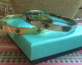 """New! My Saint My Hero """"The Greatest Love"""" Dueteronomy 6:5 Bangle Gold or Silver"""